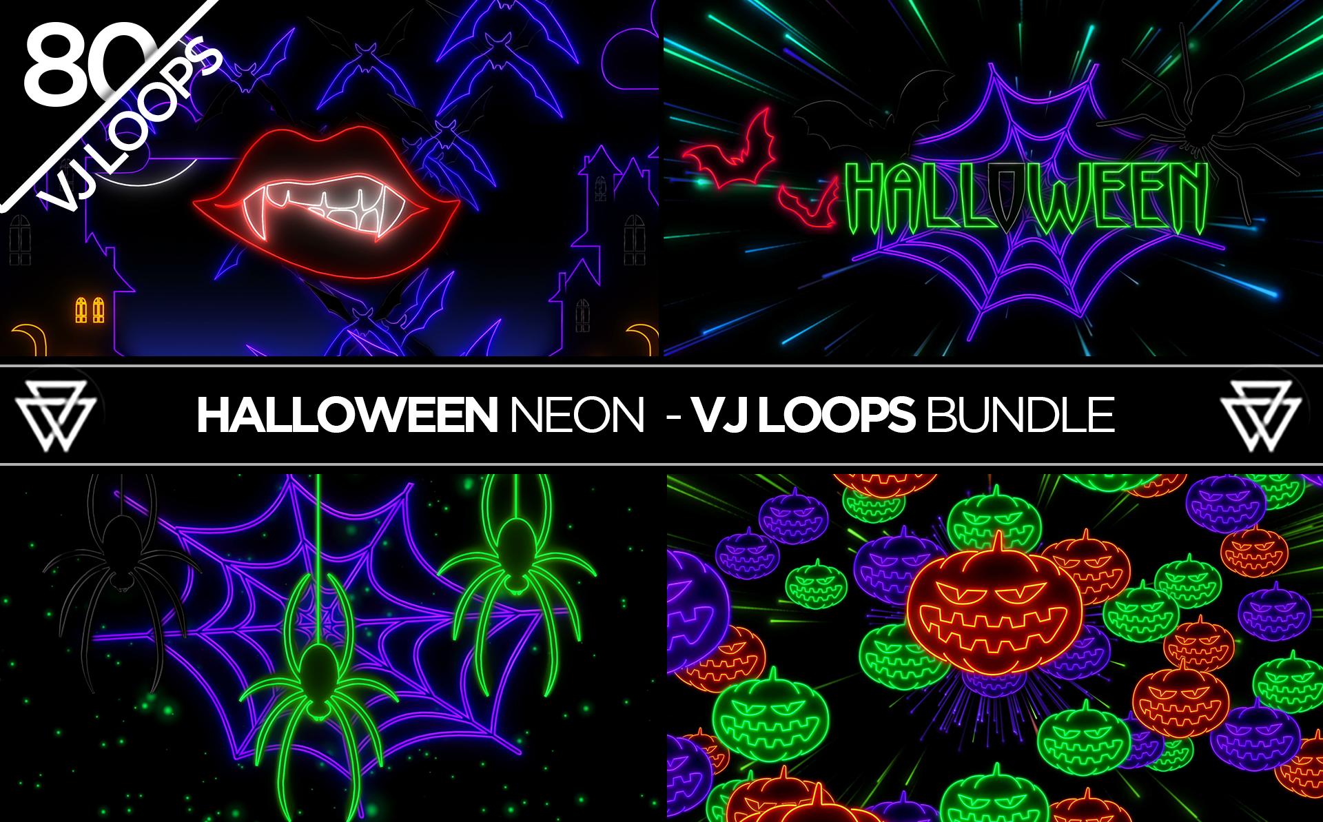halloween neon  80 vj loops