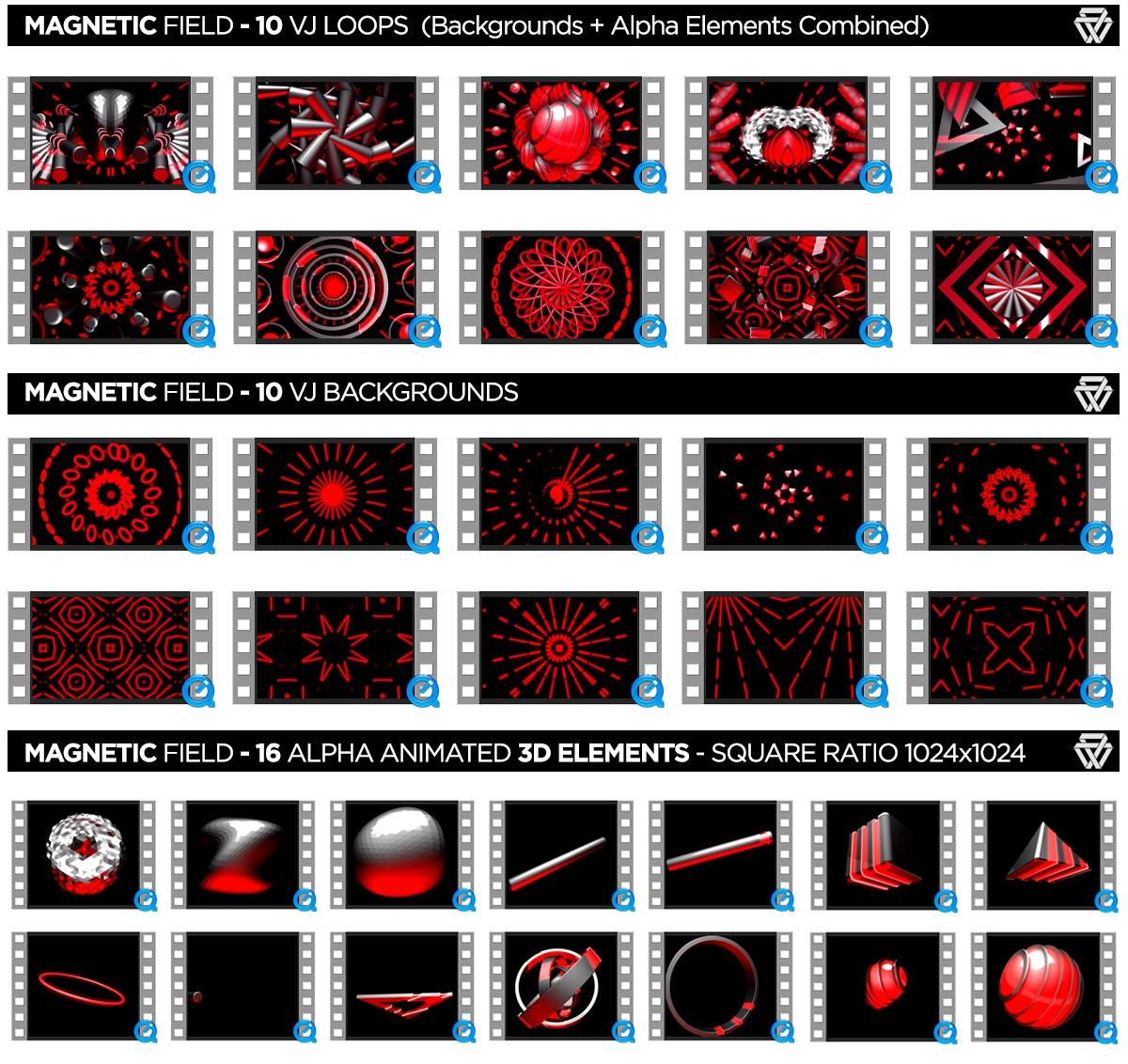 Magnetic Field 36 VJ Loops Pack